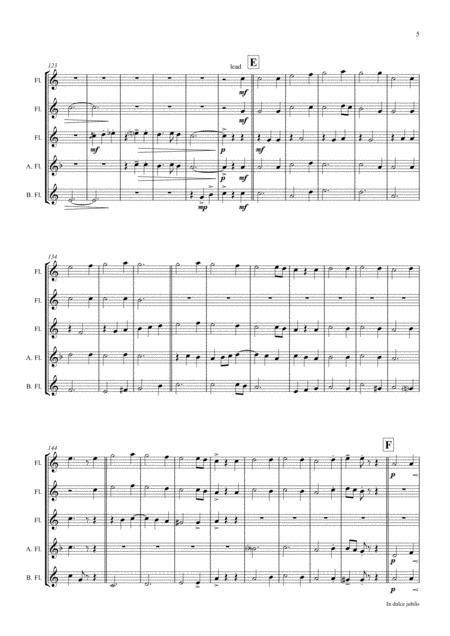 In Dulci Jubilo Christmas Song Jazz Waltz Flute Quintet  music sheet