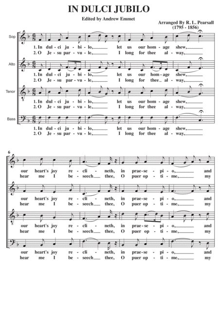In Dulci Jubilo Satb A Cappella Alto Part  music sheet
