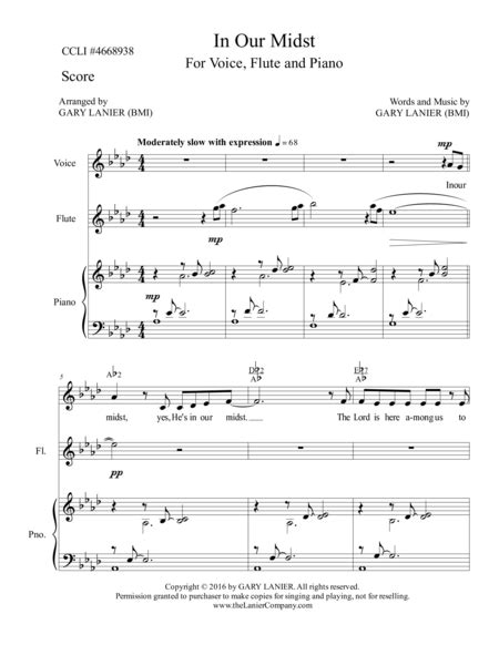 In Our Midst Piano Accompaniment For Voice Violin  music sheet