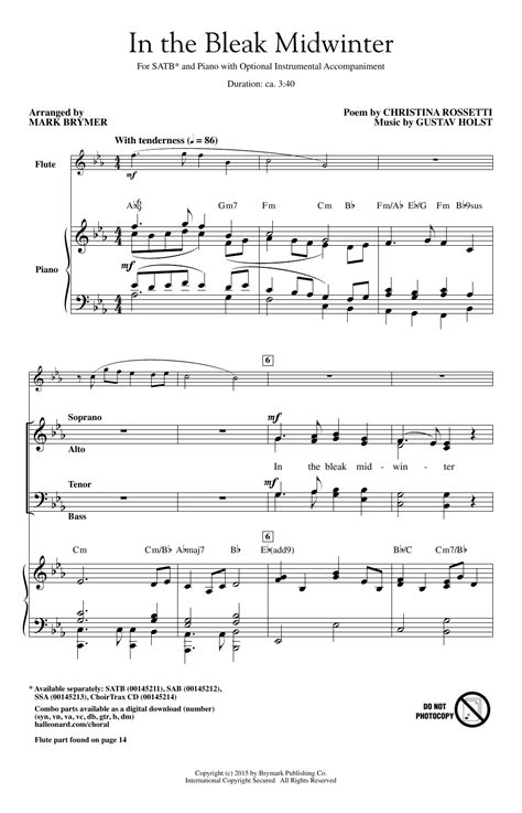In The Bleak Midwinter Or095  music sheet