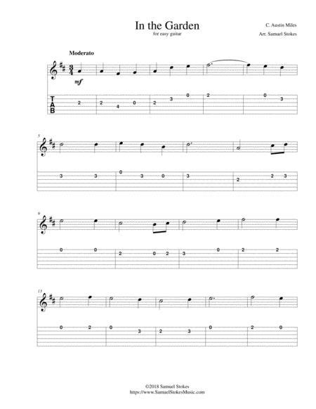 In The Garden I Come To The Garden Alone For Easy Guitar With Tab  music sheet