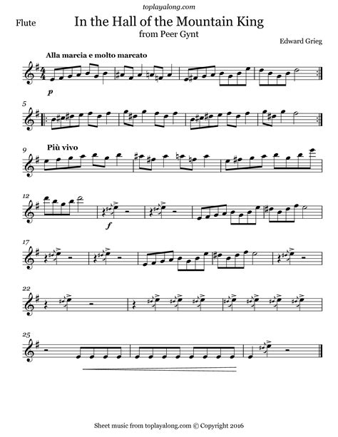 In The Hall Of The Mountain King Edvard Grieg For Soprano Sax Piano  music sheet