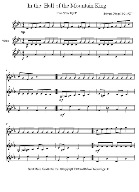 In The Hall Of The Mountain King From Peer Gynt Arr For Pianotrio  music sheet