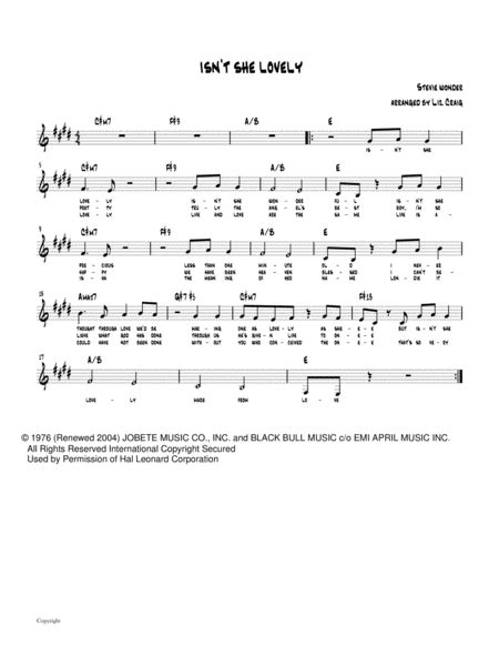 Isnt She Lovely For Viola And Piano  music sheet