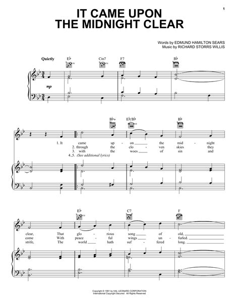 It Came Upon The Midnight Clear Easy Piano Solo  music sheet