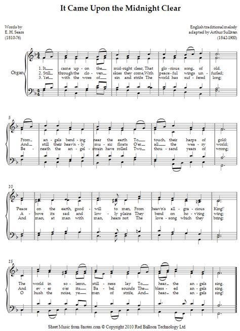 It Came Upon The Midnight Clear Version 1 Voice And Piano  music sheet