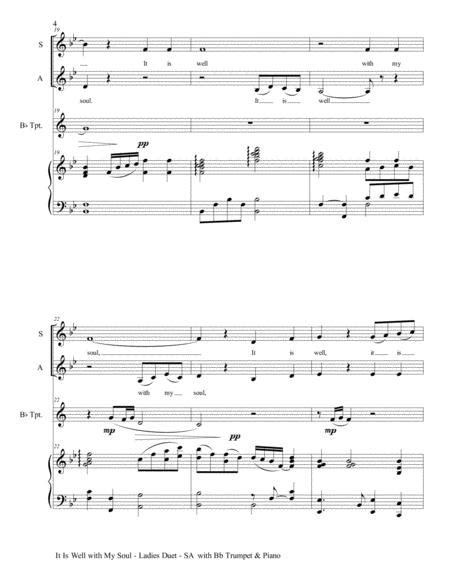 It Is Well With My Soul Ladies Duet Sa With Viola Piano  music sheet