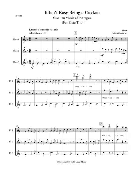 It Isnt Easy Being A Cuckoo For Flute Oboe And Bassoon Trio  music sheet