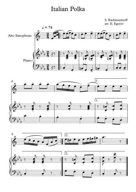 Italian Polka Sergei Rachmaninoff For Alto Saxophone Piano  music sheet