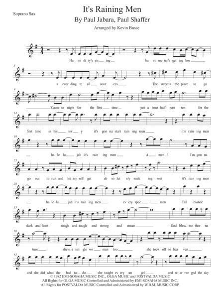 Its Raining Men W Lyrics Soprano Sax  music sheet