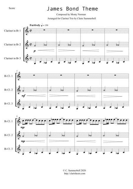 James Bond Theme Easy Clarinet Trio  music sheet