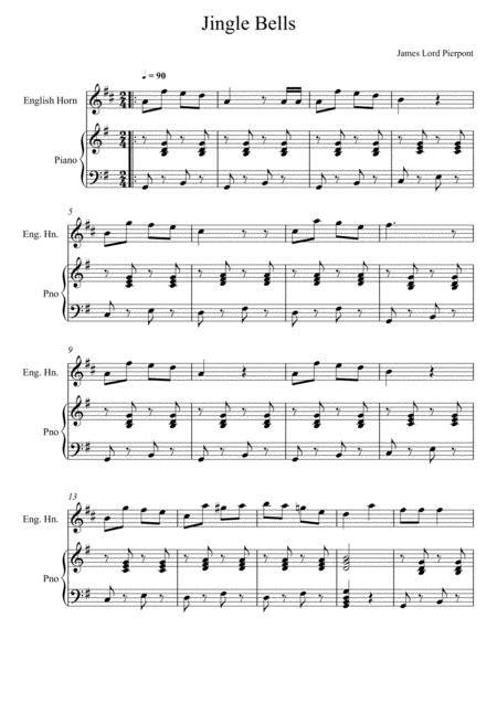 James Lord Pierpont Jingle Bells English Horn Solo  music sheet