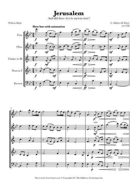 Jerusalem For Wind Quintet  music sheet