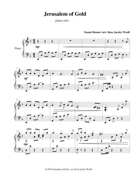 Jerusalem Of Gold Piano Solo  music sheet