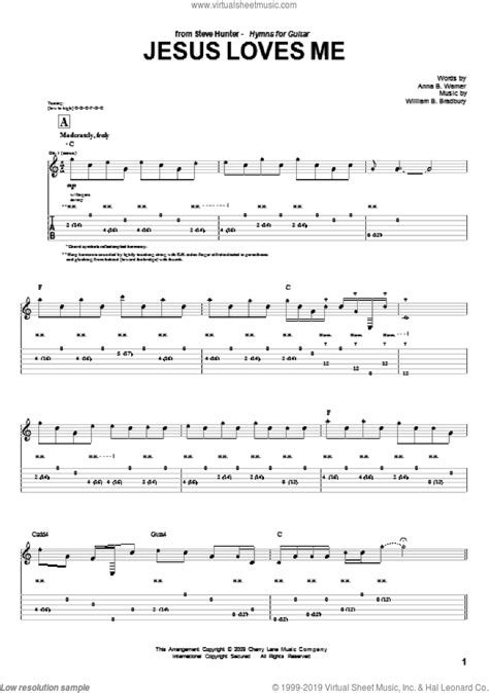 Jesus Loves Me Duet Guitar Tablature  music sheet