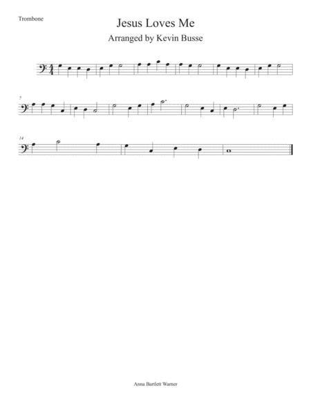 Jesus Loves Me Easy Key Of C Trombone  music sheet