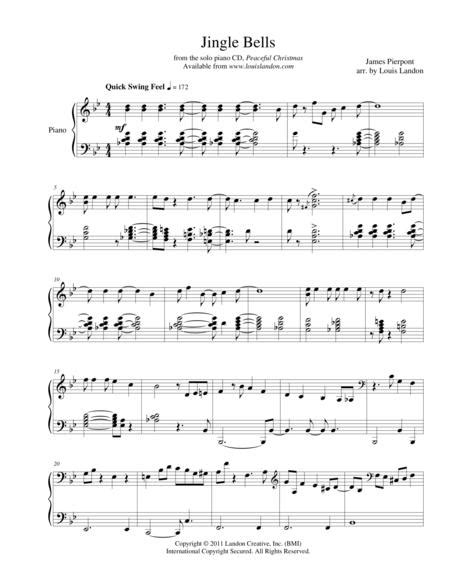 Jingle Bells Traditional Christmas Louis Landon Solo Piano  music sheet