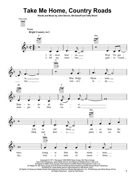 John Denver Take Me Home Country Roads Tenor Sax  music sheet