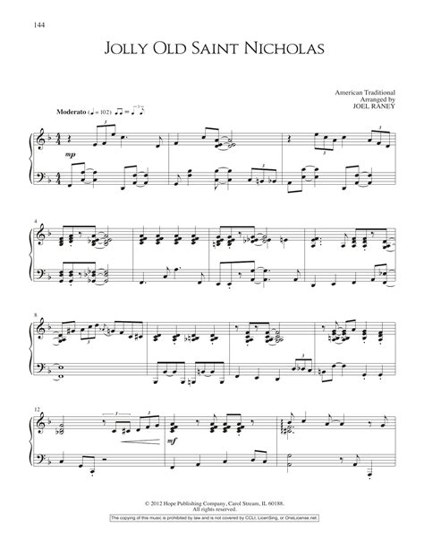 Jolly Old Saint Nicholas For Unaccompanied Brass Quartet  music sheet