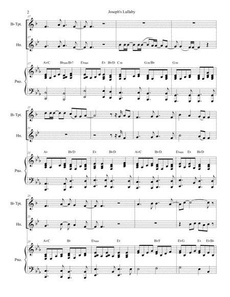 Josephs Lullaby Duet For Bb Trumpet And French Horn  music sheet