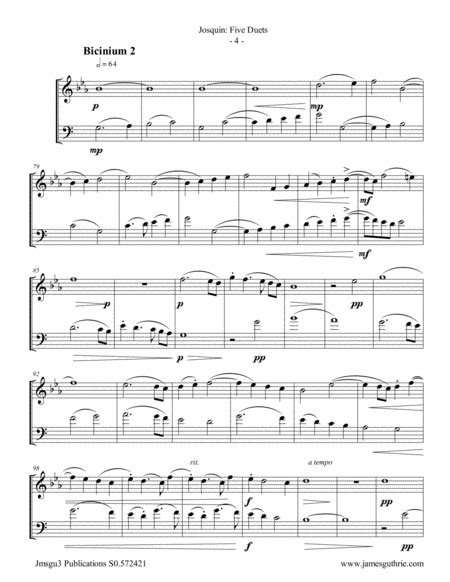 Josquin Five Duets For Oboe D Amore Bassoon  music sheet