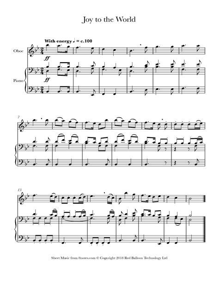 Joy To The World Oboe E Piano  music sheet
