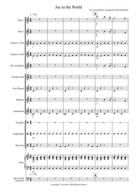 Joy To The World Rock Style For School Orchestra  music sheet