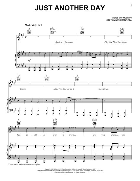 Just Another Day Lady Gaga Piano Vocal  music sheet