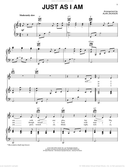 Just As I Am Solo Guitar music sheet