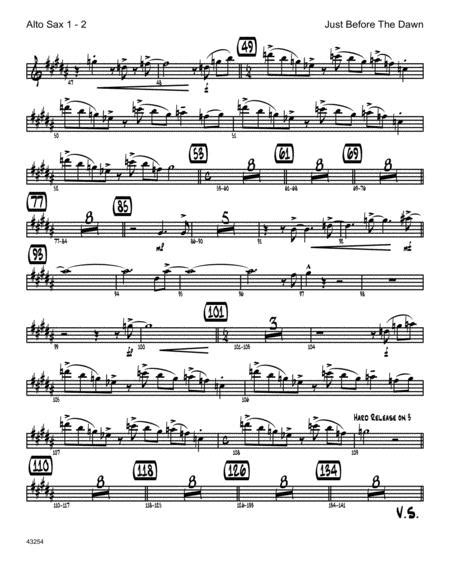 Just Before The Dawn 2nd Eb Alto Saxophone  music sheet