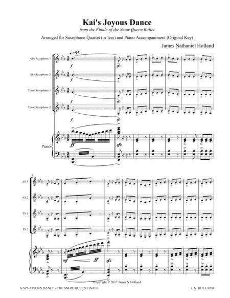 Kais Joyous Dance From The The Snow Queen Ballet Arranged For Saxophone Quartet Or Less And Piano  music sheet