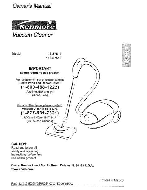 free download ebooks Kenmore Progressive Vacuum Manual Owners Manual.pdf