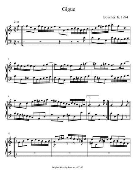 Keyboard Suite In C Vii Gigue In C  music sheet