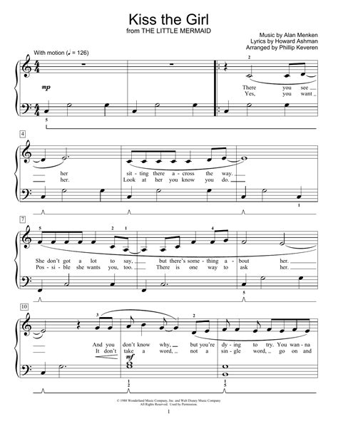 Kiss The Girl From The Little Mermaid Arr Phillip Keveren  music sheet