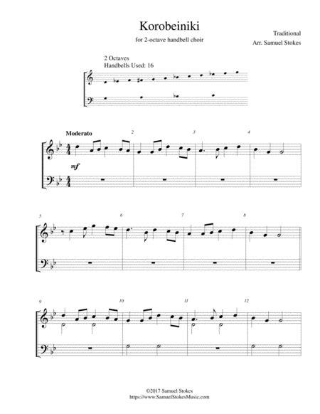 Korobeiniki Korobushka For 2 Octave Handbell Choir music sheet