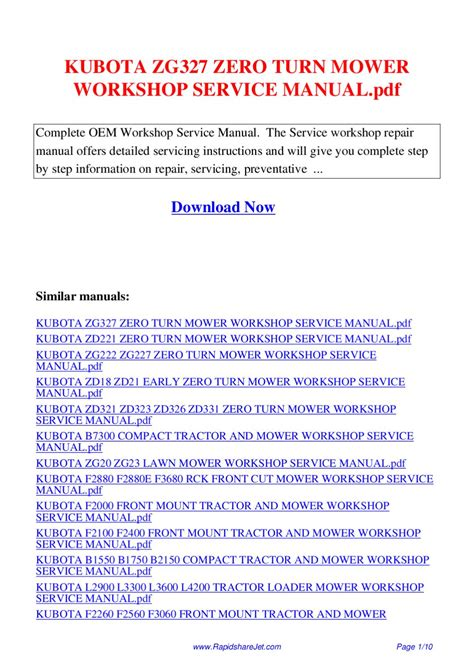 free download ebooks Kubota Zero Turn Mower Service Manual.pdf