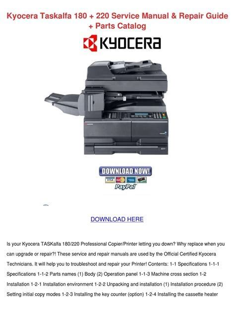 free download ebooks Kyocera Taskalfa 180 Service Manual.pdf