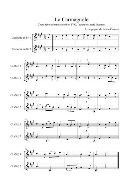 La Carmagnole Chant Rvolutionnaire De 1792 Pour 2 Clarinettes En Si Bmol  music sheet