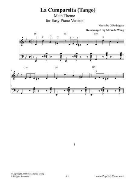 La Cumparsita Famous Tango Lovely Piano Version  music sheet