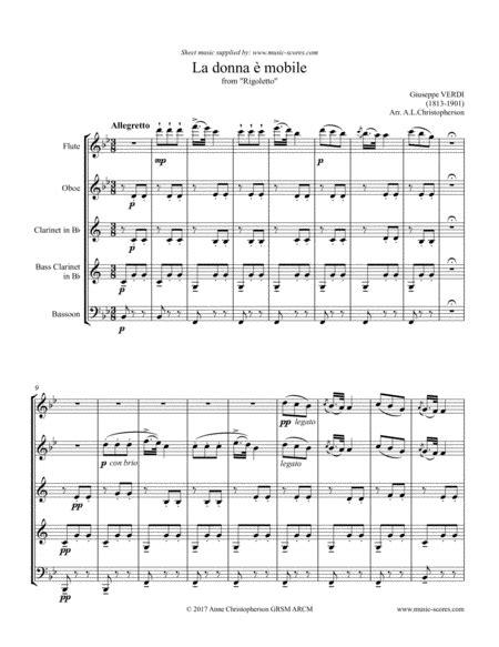 La Donna E Mobile Wind Quintet  music sheet