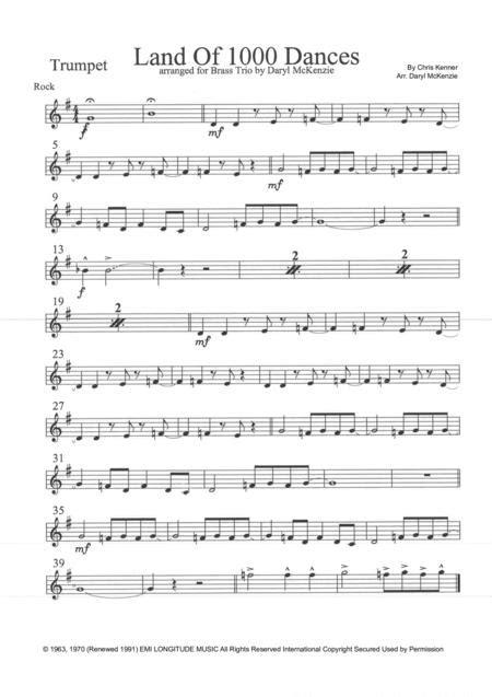 Land Of A Thousand Dances Horn Parts  music sheet