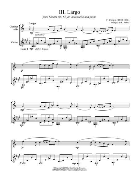 Largo From Op 65 For Clarinet In Bb And Guitar  music sheet