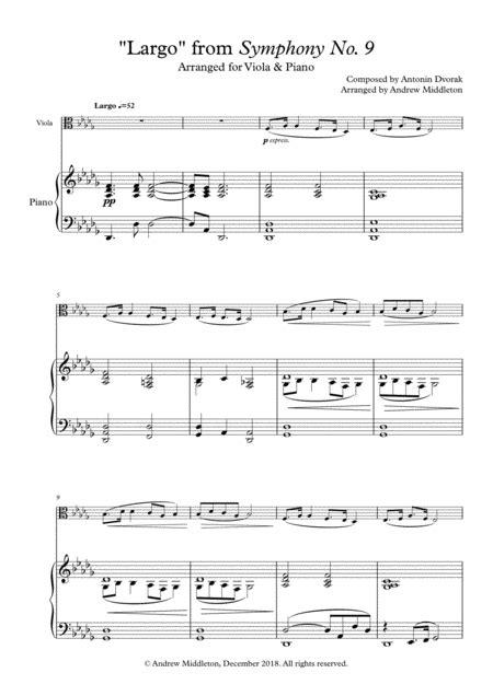 Largo From Symphony No 9 Arranged For Alto Saxophone Piano  music sheet