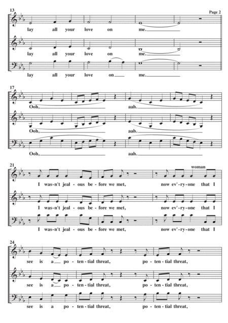 Lay All Your Love On Me A Cappella Sab  music sheet