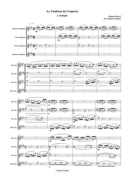 Le Tombeau De Couperin Saxophone Quartet  music sheet