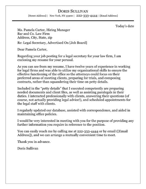 legal secretary cover letter example covering letters