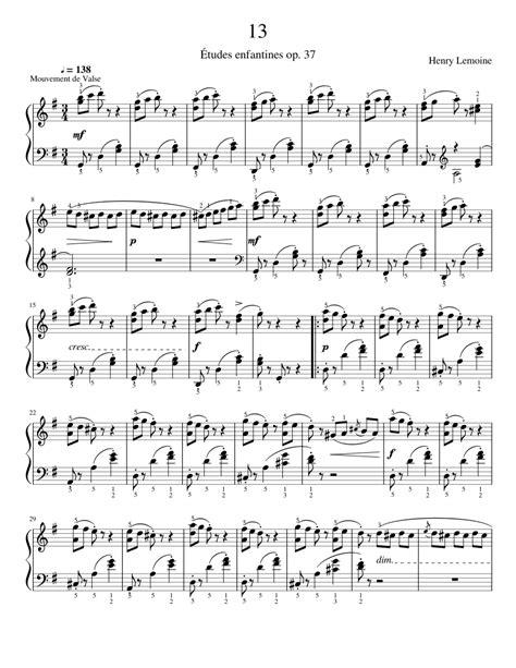 Lemoine Tudes Enfantines Etudes Op 37 No 37  music sheet