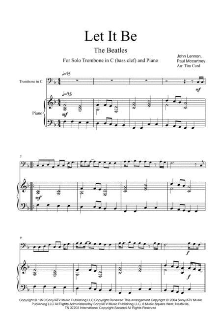 Let It Be For Solo Trombone In C Bass Clef And Piano  music sheet
