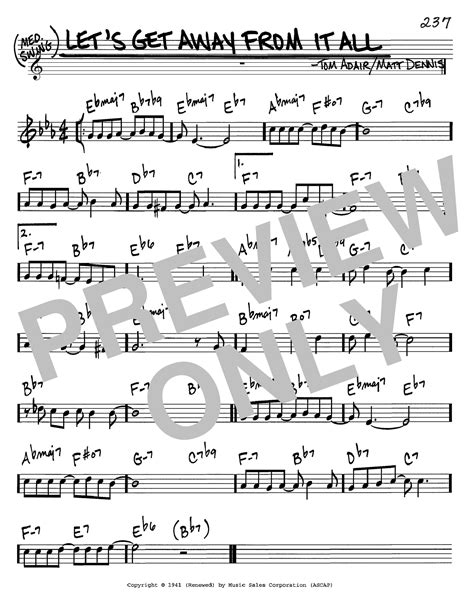 Lets Get Away From It All  music sheet