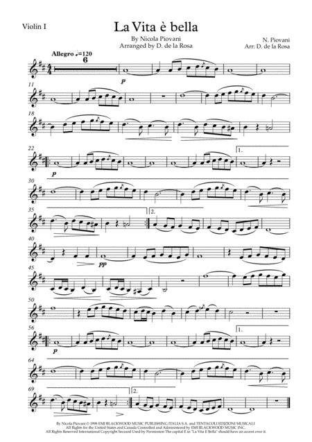 Life Is Beautiful La Vita E Bella String Trio  music sheet